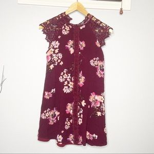 Altar'd state lace maroon floral dress